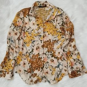 Zara Floral Button Down Shirt